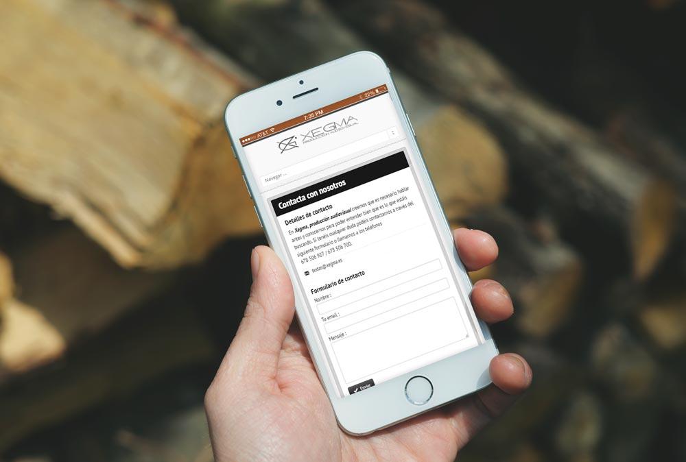 Versión móvil de la web Xegma