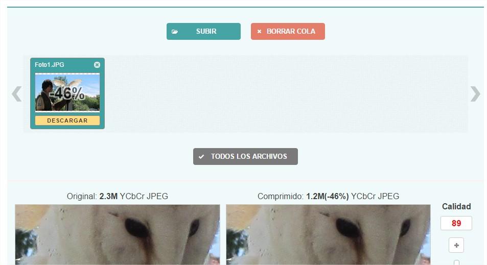 Interfaz de la aplicación web Optimizilla