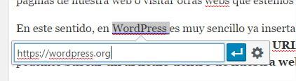 Ventana para agregar enlace en el texto de WordPress