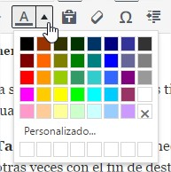 Botón de color de texto desplegado