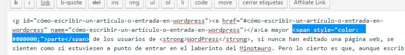 Codigo html que genera el color en WordPress