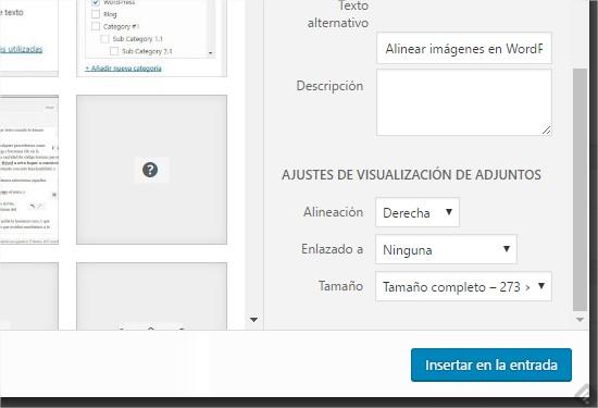 Alinear la imagen en WordPress antes de insertarla en el texto