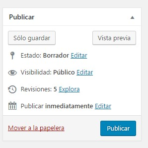 Ventana Publicar de WordPress