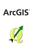 Logotipos de ArcGIS y QGIS, software GIS que manejo