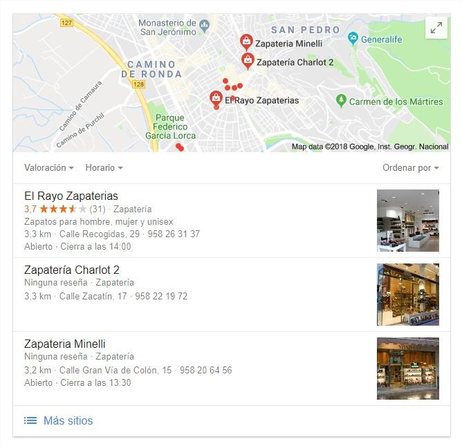 Resultado de búsqueda en google con zapaterías en Granada