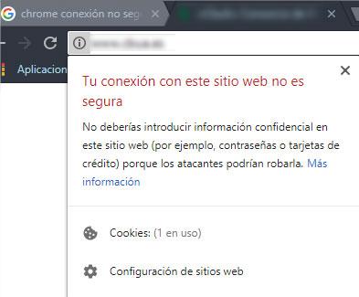 Círculo con i de información en la barra del navegador