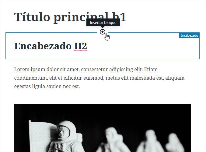 Así se ven los bloques de gutenberg (el nuevo editor de WordPress)