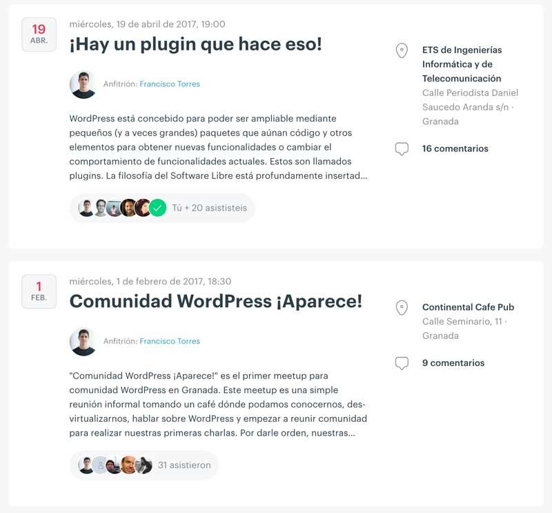 Anuncio de las dos primeras meetups de la comunidad WordPress de Granada