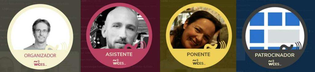 Ejemplo de acreditaciones de Jesús Yesares (organizador), Álvaro Sánchez(asistente), Esther Solá (ponente) y Código Genesis (patrocinador)